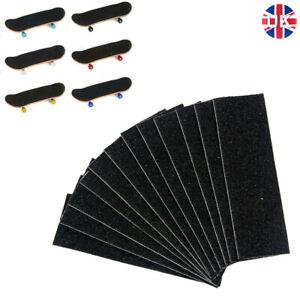 12Pc Wooden Fingerboard Deck Uncut Black Foam Grip Tape Stickers 110mm x 35mm