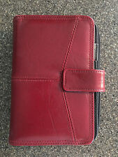 "Red 6-Ring ""GP"" Planner Organizer Agenda Binder Clutch Snap and Zip Closure"