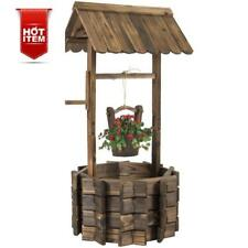 Wishing Well Planter Wooden Lawn Garden Yard Decor Flower Decorative Brown