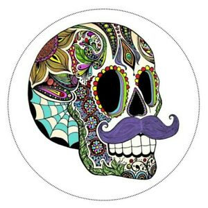 "SUGAR SKULL with MOUSTACHE ~ Edible Cake Topper 7.5"" ROUND Day of the Dead"