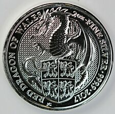 2017 United Kingdom Queen's Beast: Red Dragon of Wales 2 oz Silver Coin w Holder