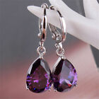 Fashion Jewelry Women Amethyst 925 Sterling Silver Ear Stud Dangle Hoop Earrings