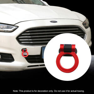 Universal Red Car Ring Track Racing Style Trailer Tow Hook Look Decoration Trim