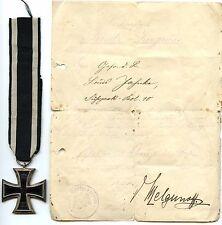 "✠ ek2 ""CO"" Possession certificat croix de fer Orden nous 135 EKII 1813 1914 ✠"