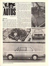 1968 BMW 2002 ~ ORIGINAL NEW CAR PREVIEW ARTICLE / AD