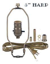 """5"""" HARP ~ Antique Brass Table Lamp Wiring Kit ~ Push-Thru Socket ~ 8' Cord"""
