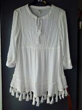 eb2fd7e7d2 WOMENS MATALAN WHITE TOP WITH TASSELS 3 4 SLEEVES UK 10.