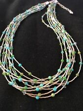 """Liquid Silver Heishi 10 Strands Sterling Silver Turquoise Necklace 17"""""""