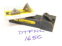 "USED KENNAMETAL 1.00"" SHANK DTFNL 165C TURNING TOOL HOLDER WITH 5PCS. INSERTS"