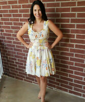 NWT Angie Smocked Off-White Floral Print Fit & Flare Summer Sun Boho Dress S/M/L