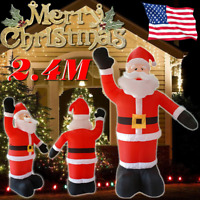 XXXL 2.4M Christmas Inflatable Santa Claus Air Blown Outdoor Yard LED Decoration