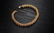 18K Yellow gold GF 32 Stones Prong lab Diamond Tennis Soild bracelet 19cm