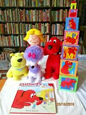 Clifford Big Red Dog ,Max, Cleo Kohls cares Plush 1t day of school book,  blocks