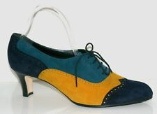 MANOLO BLAHNIK Multi-Color Suede Heel Pumps Straps-up Shoes Size 41Made in Italy