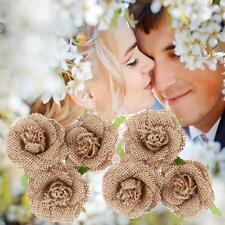 6X Vintage Natural Jute Hessian Flower Handmade Burlap Rose Wedding Party Decor