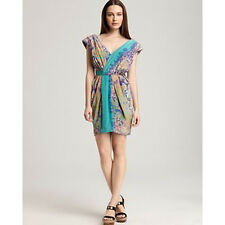 NEW TIBI New York Stained Glass Garden Print Draped Silk Cocktail Dress S 2