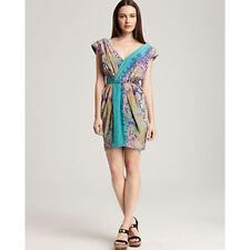 NEW TIBI New York Stained Glass Garden Print Draped Silk Cocktail Dress S 2