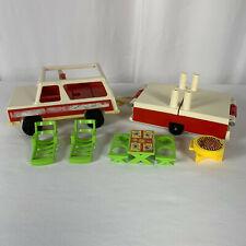 Vintage Fisher Price Little People Family Car Pop Up Camper