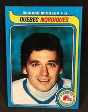 1979-80 TOPPS HOCKEY RICHARD BRODEUR RC CARD #176 QUEBEC NORDIQUES NMT-NMT/MT