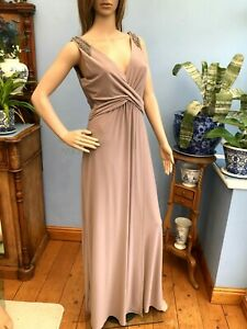 Monsoon Dark Lilac Full Length Stretch Evening Gown Dress Size 12