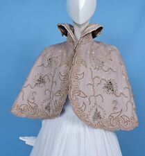 ORNATE VICTORIAN 1880'S CASHMERE CAPE WITH ORNATE HAND EMB DETAILS FOR DRESS