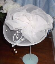 IVORY ORGANZA FLOWER FASCINATOR HEADPIECE, Handcrafted, BRAND NEW,Australia