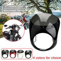 7'' Motorrad Scheinwerfer Verkleidung Lampenmaske für Harley Cafe Racer Front