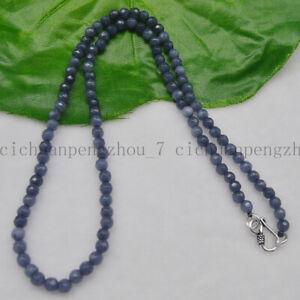 Faceted 4mm Genuine Dark Gray Aquamarine Round Gems Beads Necklace 16-24''