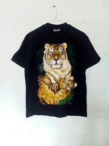 BlackTshirt withTiger Holding Cub 100%Cotton Size M  Retro Brand Zip-it London