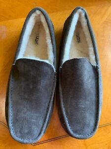 UGG ASCOT Mens Genuine Suede Wool Fur Slippers House Shoes Gray - Size 13