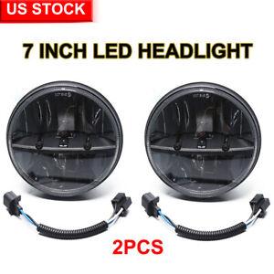 "Pair 7"" Inch Round LED Headlights Hi/Lo Beam For Jeep Wrangler JK LJ TJ CJ Dodge"