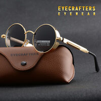 Vintage Polarized Steampunk Sunglasses Fashion Round Mirrored Retro-Sunglasses