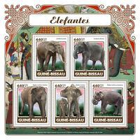 Guinea-Bissau 2017 MNH Elephants 5v M/S Mammals Wild Animals Stamps