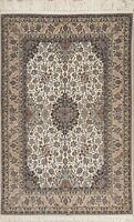 SILK Floral Traditional Oriental Area Rug Wool 5x8 Hand-Knotted NEW Ivory Carpet