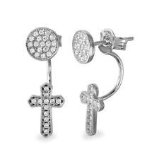 Sterling Silver Circle & Hanging Cross CZ Stones Stud Earrings