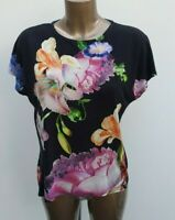 Women's Ted Baker Black Floral Print T-Shirt Jersey Top Blouse 2 UK 10