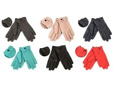 Genuine 100% Soft Lamb Leather Gloves Womens Ladies Button Clasp Winter Driving