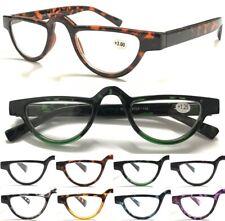 L324 Retro Half Rim Reading Glasses/Spring Hinge/Vintage Half Moon Tortoiseshell