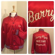 New listing Vtg Usa Made 60's 70's Chain stitch Wright Racing Sportswear Red Satin Jacket L