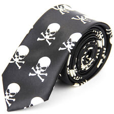 Unisex Novelty Skull and Crossbones Print Skinny Tie Black and White Brand New