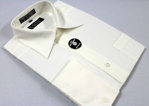 Mens French Cuff Dress Shirt Plain Off White WrinkleFree Cotton Blend Modern Fit