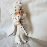 Vintage Porcelain Angel Holding a Candle  Figurine Japan  5 inches tall