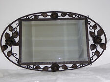 BEAUTIFUL ART DECO WROUGHT IRON FRENCH BEVELLED MIRROR - INTRICATE ROSES FLOWERS