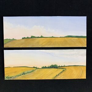 "Vintage Set of 2 P CURRAN Original Art Watercolor Painting Landscape Signed 12"""
