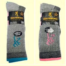 2 pair Women'S Browning Angora Blend Boot Socks.blue/pink .size 6-9