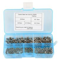 250 Pcs/Set M1.6 M2 M2.5 M3 M4 Carbon Steel Hex Nut Assortment Kit Hexagon  R7U7