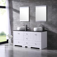 "60"" White Bathroom Vanity Cabinet Double Ceramic Vessel Sink Black Glass Top Set"