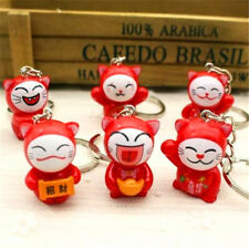 Japanese Ninja Cats Lucky Red Cat Keyring Car Keychain Key Ring Chain Gift 1pc ♫