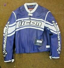 ICON Daytona Leather Motorcycle Jacket  Blue & White XXL
