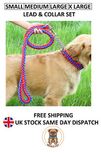 Nylon Braided Traction Rope Dog Lead & Collar Set Martingale Chain Collars Leads